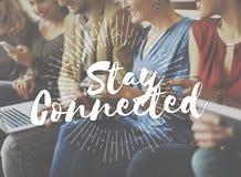 Stag förbindelsebegrepp för kamratskapinternetförhållande arkivbilder