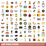 100 stag icons set, flat style. 100 stag icons set in flat style for any design vector illustration Stock Illustration