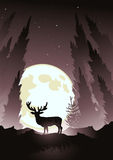 Stag by Moonlight. A stag silhouetted by the moonlight. Winter  illustration Royalty Free Stock Images