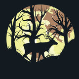 Stag Over Full Moon Royalty Free Stock Photos