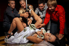 Stag party. Crazy bachelor's party in strip club Stock Photography