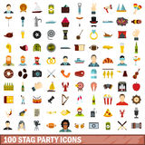 100 stag party icons set, flat style Royalty Free Stock Photos