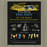 stag-party invite on the beach. Holiday, vacation, invitation c Royalty Free Stock Image