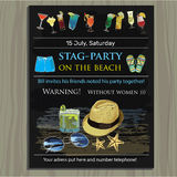 Stag-party invite on the beach. Holiday, vacation, invitation ca Royalty Free Stock Photo