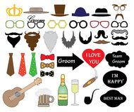 Stag party wedding set, vector, photo booth props. Stag party wedding set, vector, photo booth props Royalty Free Stock Image