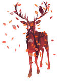 Stag Silhouette with Forest Stock Images