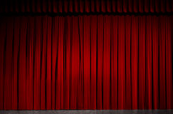 Stage. Red velvet theater curtain on a stage stock image