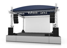Stage. Empty outdoor stage with blank screen. 3D rendered illustration Stock Photography