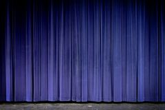 Stage. Blue velvet theater curtain on stage stock photography