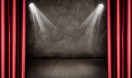 Stage. Lights and red curtains Stock Photos