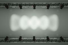 Stage. A center stage with metal frame, put your object or word  in the center Royalty Free Stock Photos