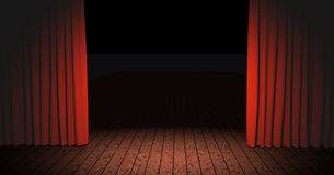 Stage. Curtains open on a stage for a show stock illustration