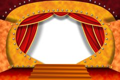 Stage. Party stage background with red curtains Royalty Free Stock Image