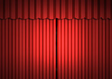Stage. Empaty stage with red curtain (close curtain Stock Photography