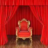 Stage. Luxury armchair on stage with red curtains Stock Photography