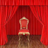Stage. Luxury chair on stage with red curtains Stock Image