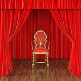 Stage. Luxury chair on stage with red curtains Royalty Free Stock Photos