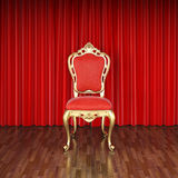 Stage. Luxury chair on stage with red curtains Stock Photography