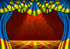 Stage. Blue velvet screen theater curtain on a stage stock illustration