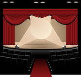 On Stage. Blank Stage, Illustration of red curtain, lights and stage with seating stock illustration