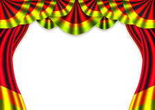 Stage. Red velvet screen theater curtain on a stage stock illustration