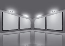 Stage. This a art gallery grey decoration and spot light Stock Photo
