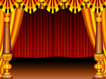 Stage. A beautiful stage curtain gold colour pillar and cloth & screen border generated by illustration Stock Images