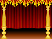 Stage. A beautiful stage curtain gold colour pillar and border, screen generated by illustration Royalty Free Stock Photos