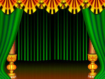 Stage. A beautiful stage curtain gold colour pillar and  border, green colour screen generated by illustration Royalty Free Stock Photos