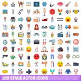 100 stage actor icons set, cartoon style. 100 stage actor icons set. Cartoon illustration of 100 stage actor vector icons isolated on white background royalty free illustration