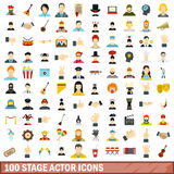 100 stage actor icons set, flat style. 100 stage actor icons set in flat style for any design vector illustration Stock Photos