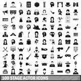 100 stage actor icons set, simple style. 100 stage actor icons set in simple style for any design vector illustration Vector Illustration