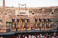 Stage with Aida Scenery in the Arena di Verona, Italy Royalty Free Stock Photos