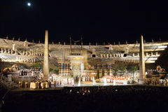 Stage with Aida Scenery in the Arena di Verona, Italy Royalty Free Stock Image