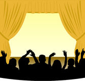 Stage and Audience. Illustration of a theater stage with a gold curtain and an audience in silhouette
