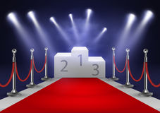 Stage for awards ceremony. White podium with red carpet. Pedestal. Scene. Spotlight. 3D. Vector illustration. Stage for awards ceremony. White podium with red Royalty Free Stock Image