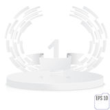 Stage for awards ceremony. White round podium. First place. Winn. Er, number one background. Pedestal. 3D. Scene. Classic podium.  One-level podium. Vector Stock Photography