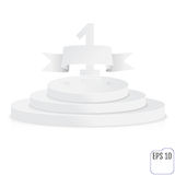 Stage for awards ceremony. White round podium. First place. Winn. Er, number one background. Pedestal. 3D. Scene.  Three-level podium. Vector illustration Royalty Free Stock Photography