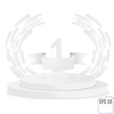 Stage for awards ceremony. White round podium. First place. Winn. Er, number one background. Pedestal. 3D. Scene.  Two-level podium. Vector illustration Royalty Free Stock Images