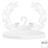 Stage for awards ceremony. White round podium. Second place. Win. Ner, number two background. Pedestal. 3D. Scene. Classic podium.  One-level podium. Vector Royalty Free Stock Photos