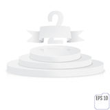 Stage for awards ceremony. White round podium. Second place. Win. Ner, number two background. Pedestal. 3D. Scene.  Three-level podium. Vector illustration Stock Image