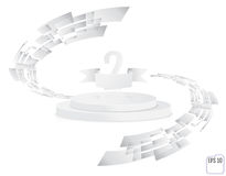 Stage for awards ceremony. White round podium. Second place. Win. Ner, number two background. Pedestal. 3D. Scene.  Two-level podium. Vector illustration Royalty Free Stock Photos