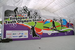 Stage and backdrop for Youth Olympic logo launch Royalty Free Stock Images