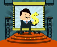 Stage and background /businessman. Stage and background with light bulb show/businessman Royalty Free Stock Images
