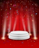 Stage background with confetti and light Royalty Free Stock Photo