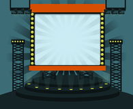 Stage. And background with light bulb show Royalty Free Stock Photography