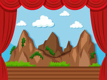 Stage background with mountain and grass Royalty Free Stock Photography