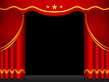 Stage Background With Red Curtains. An illustration of some traditional red stage curtains. Background placed on a separate layer Royalty Free Stock Photos