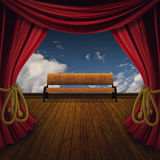 Stage with bench Royalty Free Stock Photo