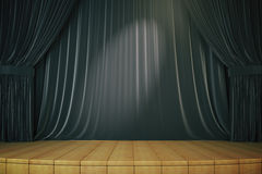Stage with black curtains. Stage interior with drawn black curtains and light brown parquet floor. 3D Render Stock Image